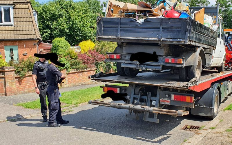 Vehicle used for fly-tipping seized in joint police and council operation.