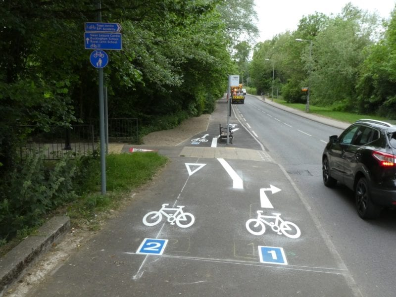 Cycleway extension surfacing and  markings completed by Swan Pool, Buckingham